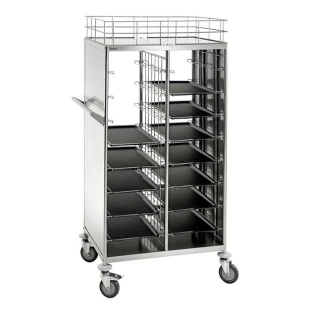 chariot de transport en inox pour plateaux de cantine. Black Bedroom Furniture Sets. Home Design Ideas