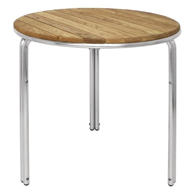 Table en fr ne et aluminium empilables ronde 600mm bolero - Table ronde en aluminium ...