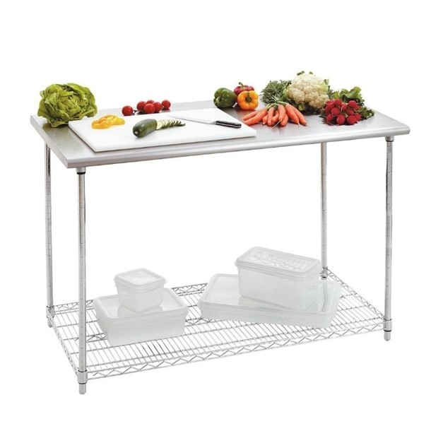 Table de travaille en inox bartscher avec tag re basse for Table travail inox