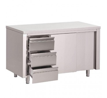 Table armoire inox avec portes coulissantes et 3 tiroirs for Table armoire inox