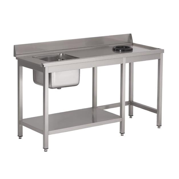 table d 39 entr e lave vaisselle inox avec bac tvo dosseret et tablette inf rieure gastro m. Black Bedroom Furniture Sets. Home Design Ideas