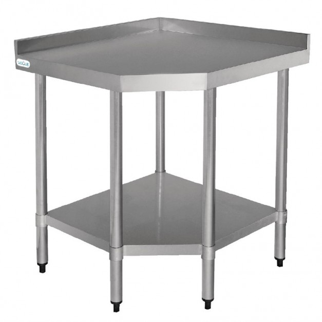 Table d 39 angle en inox pour la restauration for Table travail inox