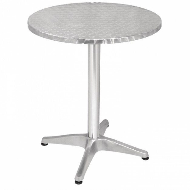 Table de bistro ronde tout aluminium - Table bistrot rectangulaire aluminium ...