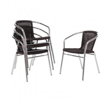 chaise bistrot et tabourets de terrasse en rotin et aluminium. Black Bedroom Furniture Sets. Home Design Ideas