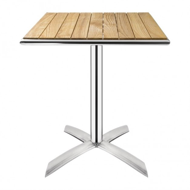 Table bistro avec plateau basculant en fr ne carr 600mm - Table bistrot rectangulaire aluminium ...