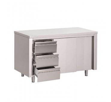 Meuble bas inox avec tiroirs for Table armoire inox