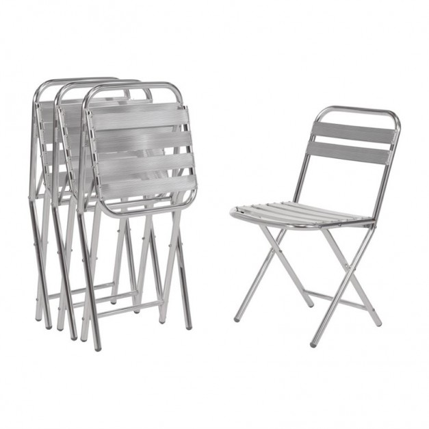lot de 4 chaises pliantes en aluminium pour les terrasses de caf. Black Bedroom Furniture Sets. Home Design Ideas