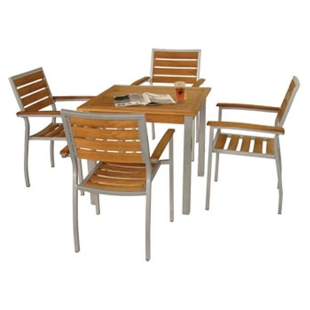 Table carr e en teck et en aluminium 800 mm - Table carree exterieur aluminium ...