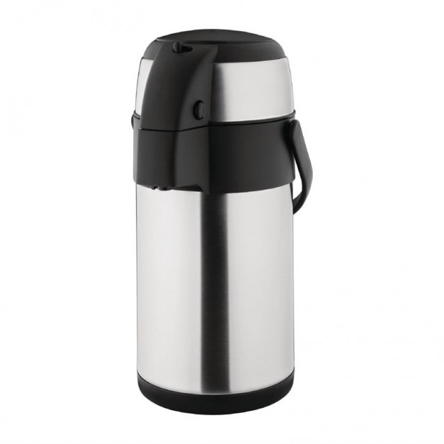 thermos a pompe 2 5 litres en inox avec doubles parois. Black Bedroom Furniture Sets. Home Design Ideas
