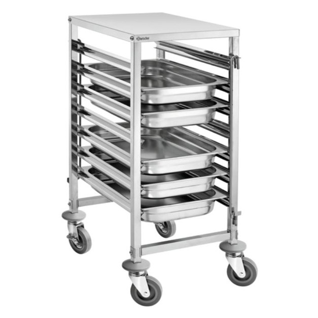 Chariot chelle gastro 7 niveaux bartscher en inox avec for Echelle cuisine inox