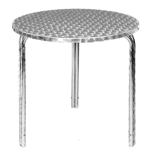Table de bistro ronde en inox empilable for Table de cuisine inox
